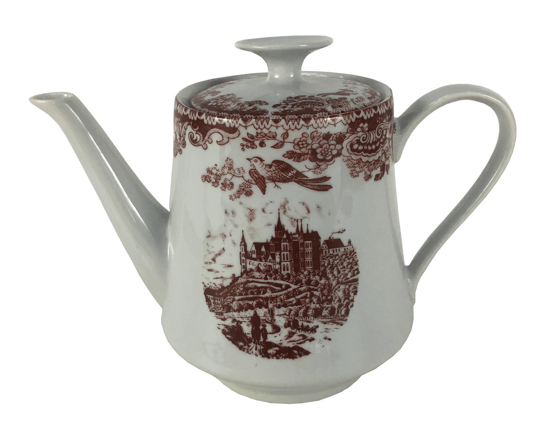 Antigo Bule Porcelana Real Estilo Ingles Vermelho