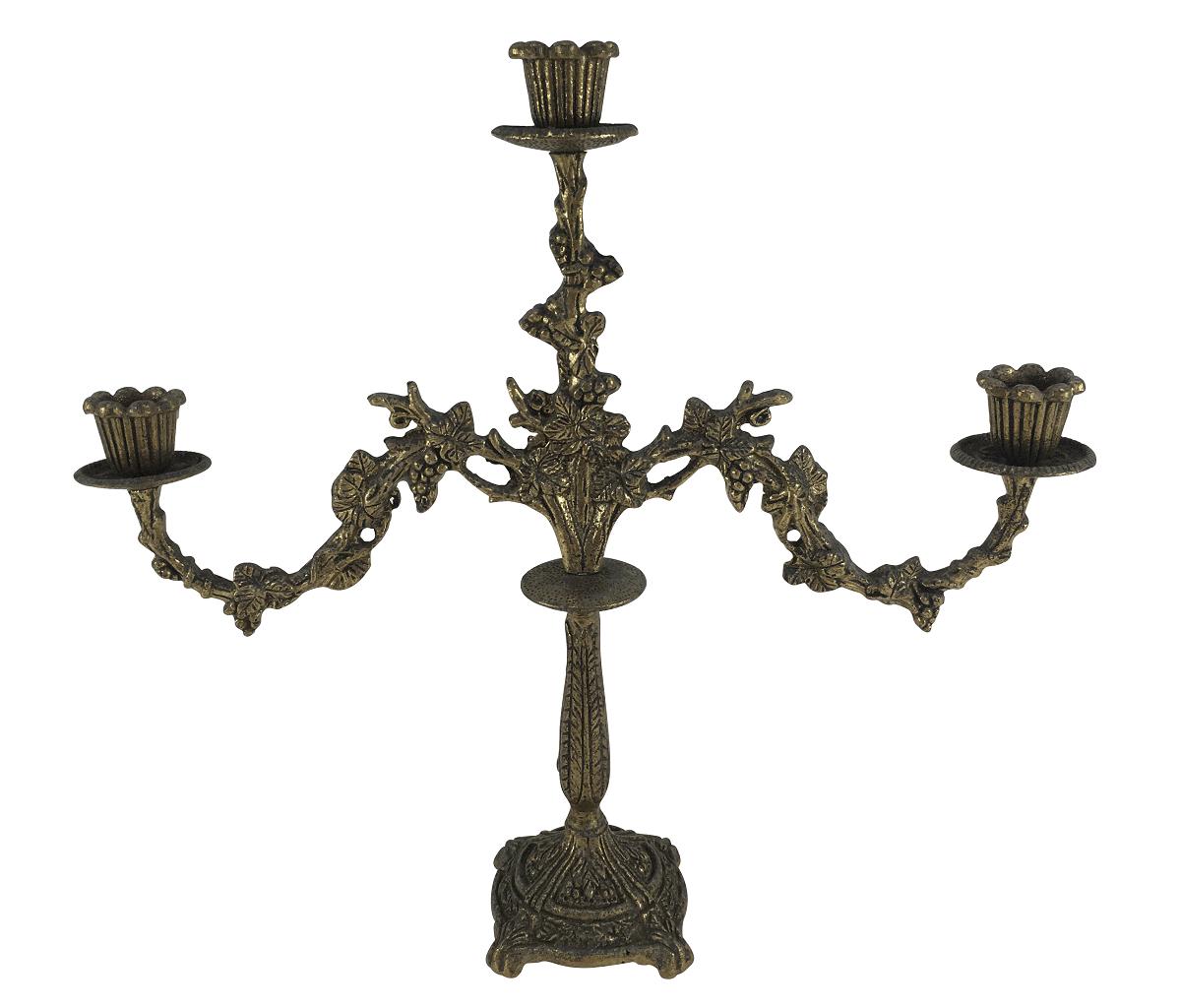 Antigo Candelabro Em Bronze 3 Velas