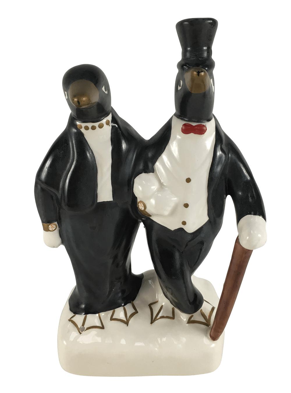 Antigo Casal De Pinguim Porcelana