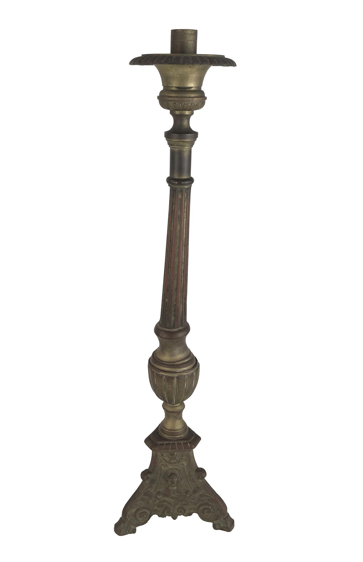 Antigo Castiçal De Igreja Em Bronze 56cm