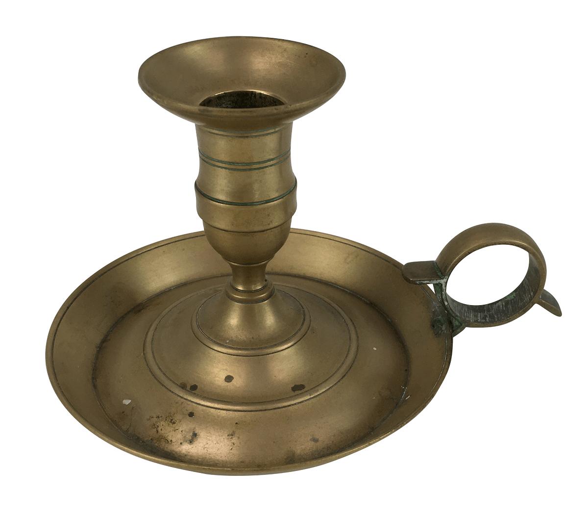 Antigo Castiçal Palmatoria Em Bronze