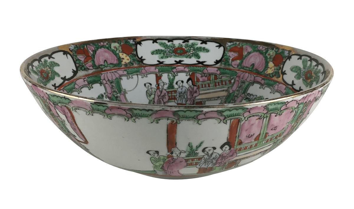 Antigo Centro De Mesa Porcelana Chinesa Mandarim