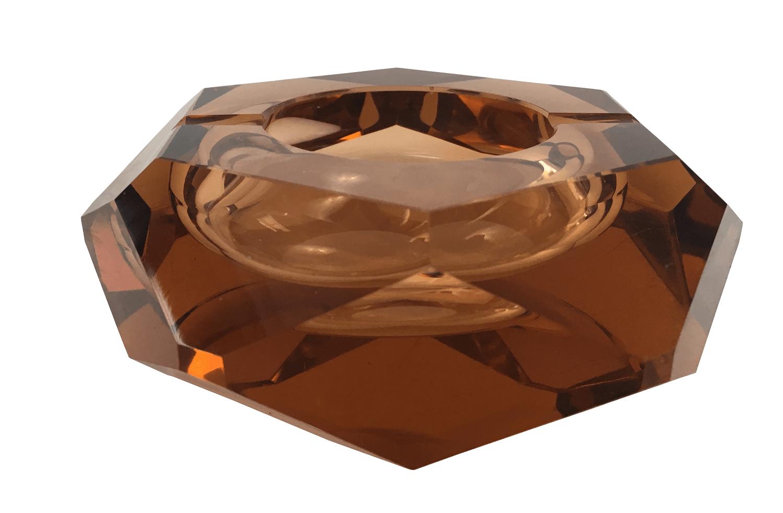Antigo Cinzeiro Cristal Moser Lapidaçao Geometrica Belissimo