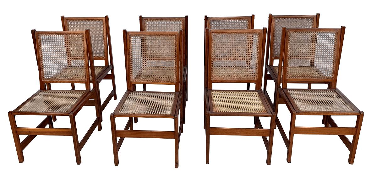 Antigo Conjunto 8 Cadeiras Design Anos 60 Palhinha