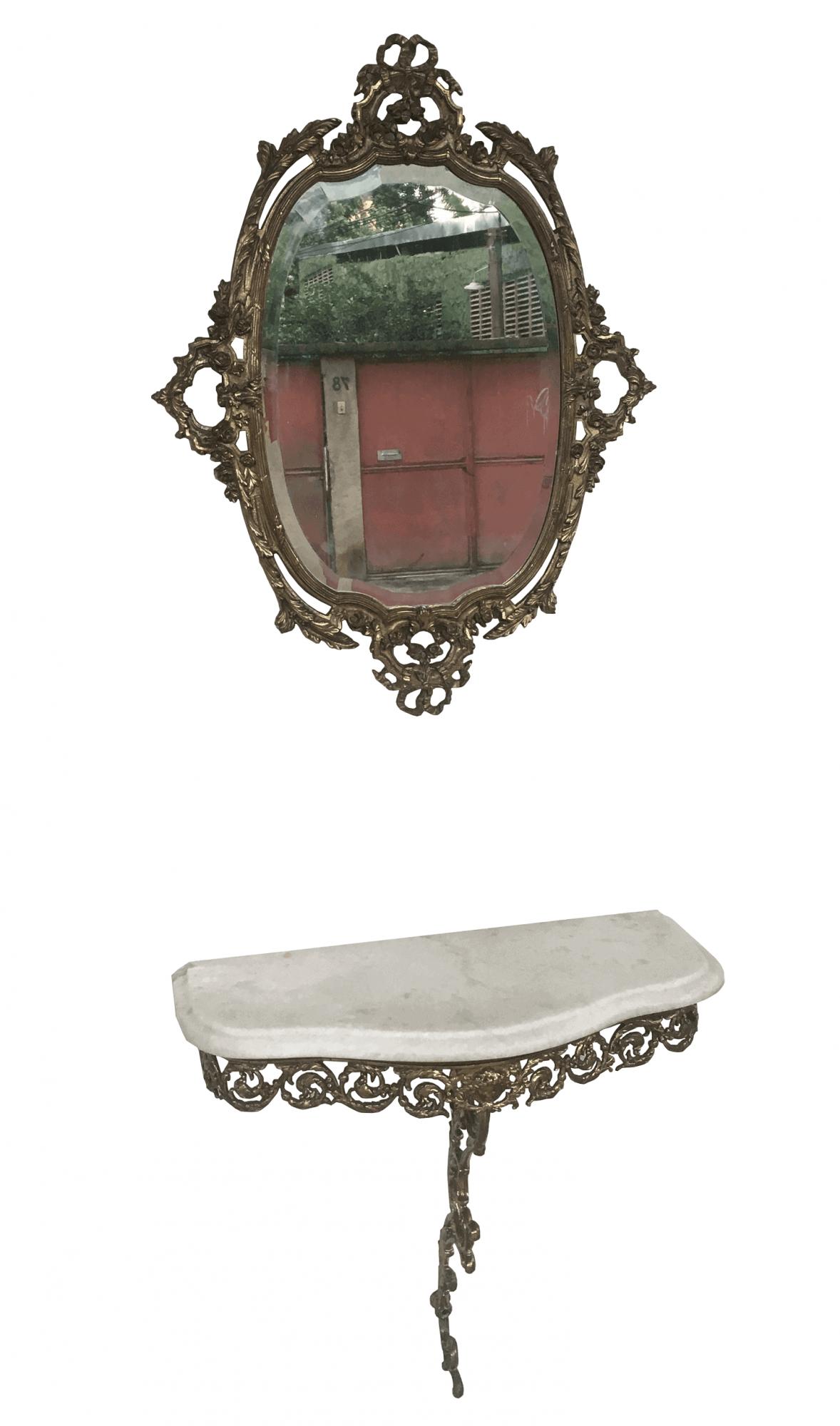 Antigo Conjunto Aparador De Parede E Espelho Em Bronze