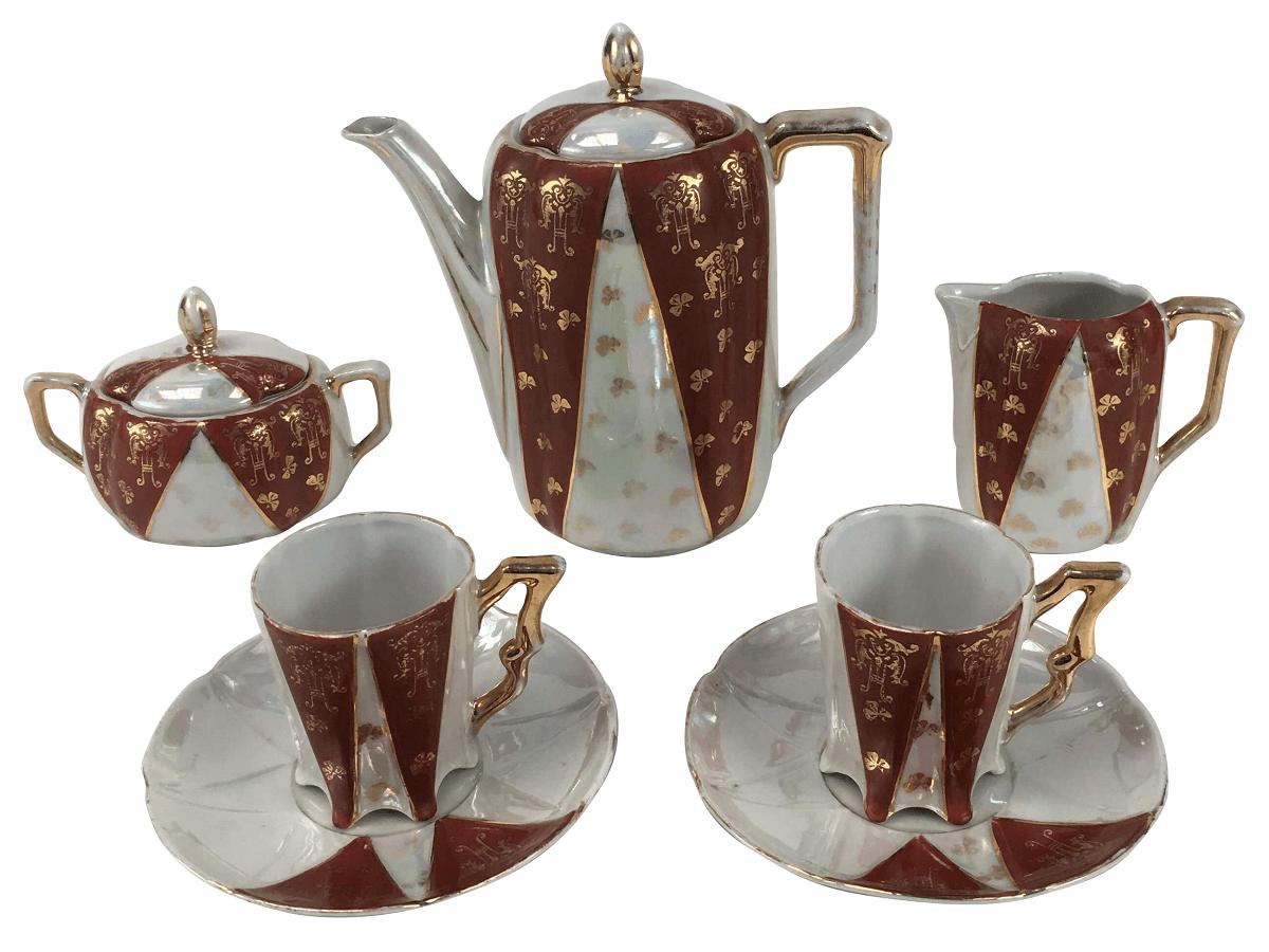 Antigo Conjunto De Cafe Tete A Tete Porcelana