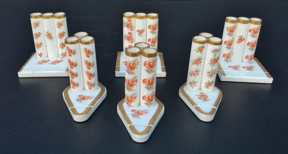 Antigo Conjunto De Cigarreira Em Porcelana