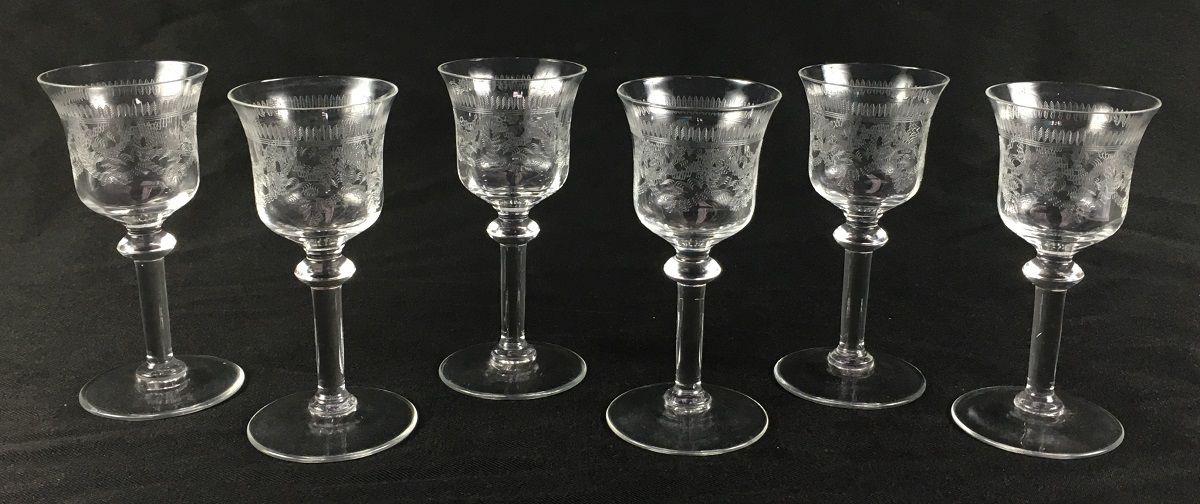 Antigo Conjunto De Taças Cristal Saint Louis Guirlanda