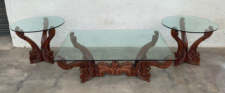 Antigo Conjunto Mesa Centro E Lateral Cerejeira Entalhada
