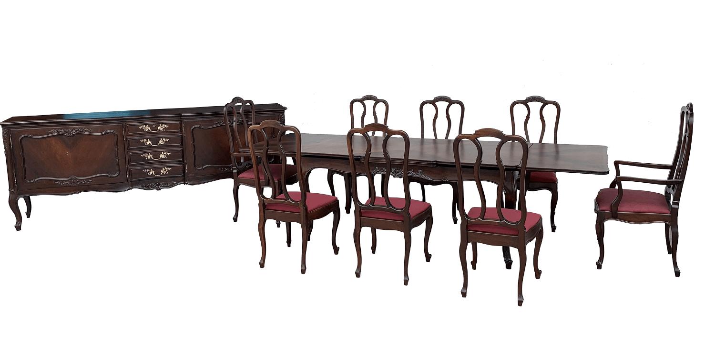 Antigo Conjunto Mesa De Jantar 8 Cadeiras Luis Xv E Buffet