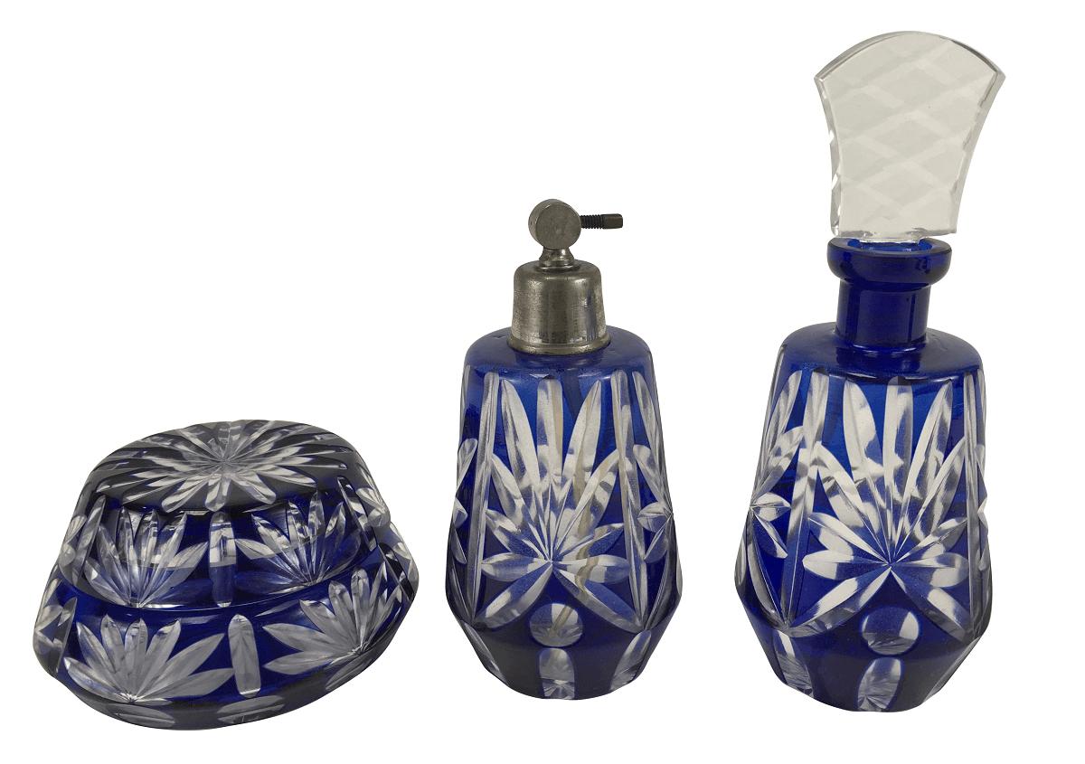 Antigo Conjunto Perfumeiro Toucador Cristal Baccarat Azul