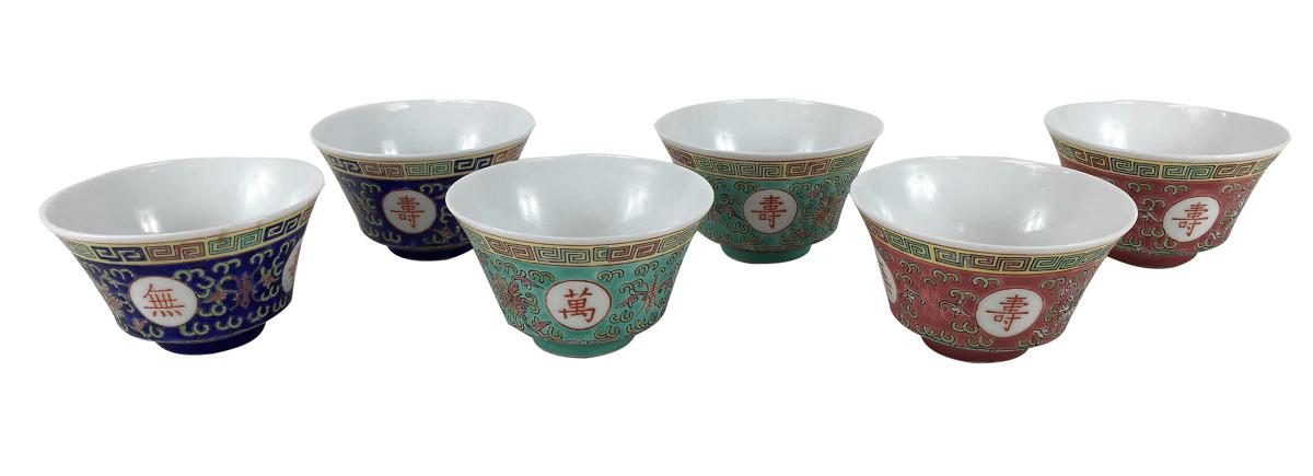 Antigo Conjunto Potinhos Em Porcelana Oriental