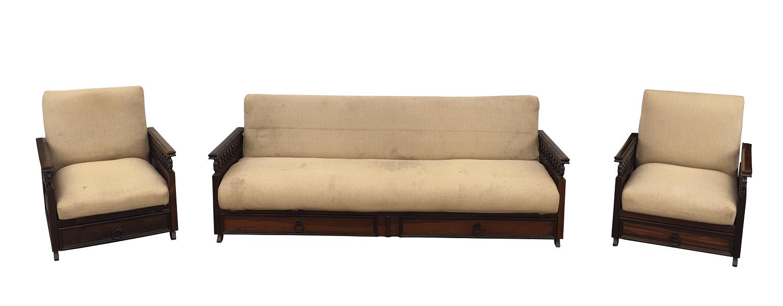Antigo Conjunto Sofa Cama E Poltronas Jacaranda Torneado