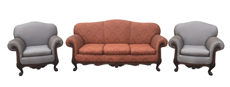 Antigo Conjunto Sofa E Poltronas Dom Joao V Jacaranda Magnificos