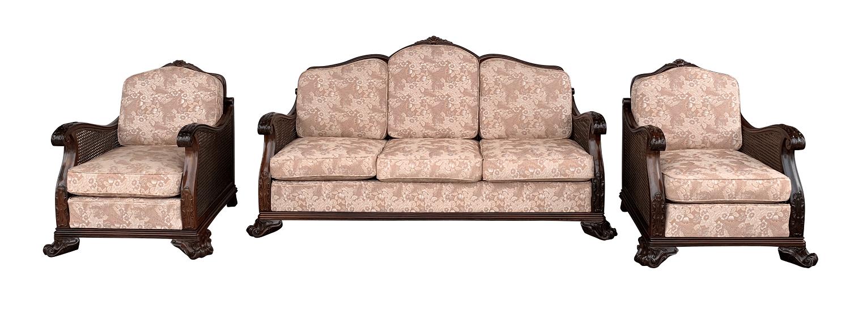 Antigo Conjunto Sofa E Poltronas Dom Jose Jacaranda E Palhinha