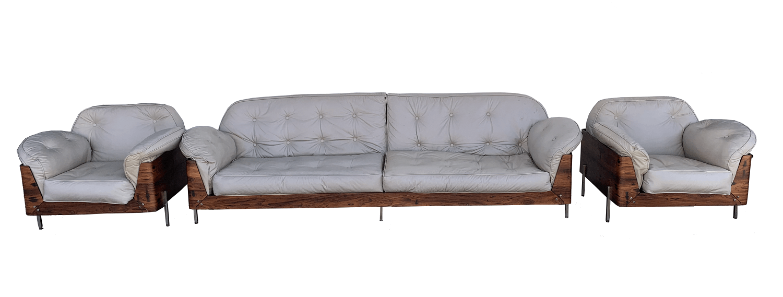 Antigo Conjunto Sofa E Poltronas Jacaranda Anos 60 Design