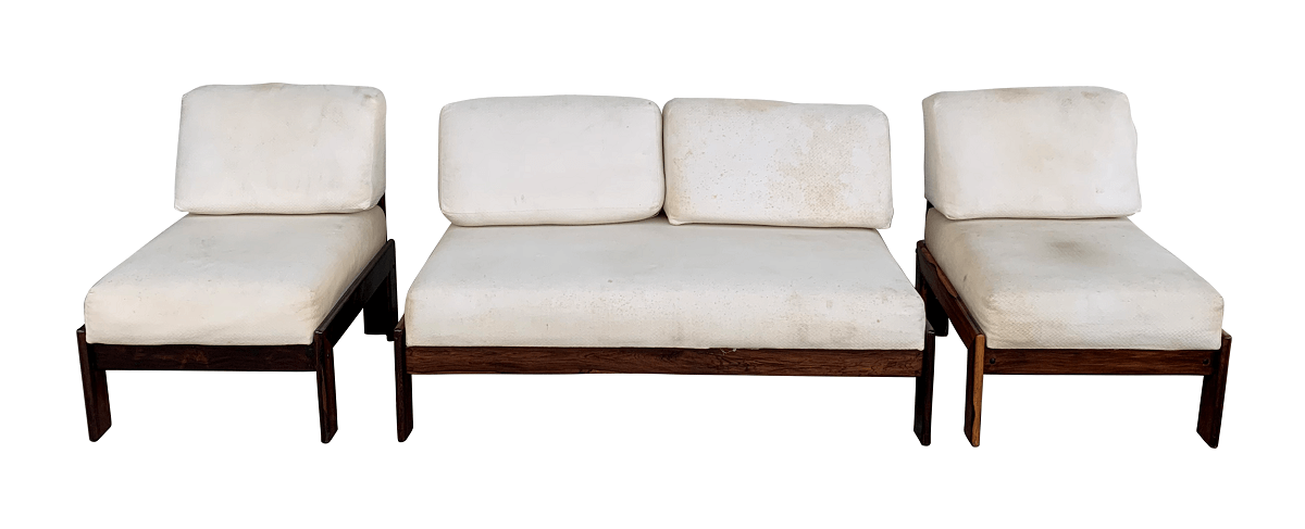 Antigo Conjunto Sofa E Poltronas Jacaranda Design Anos 60