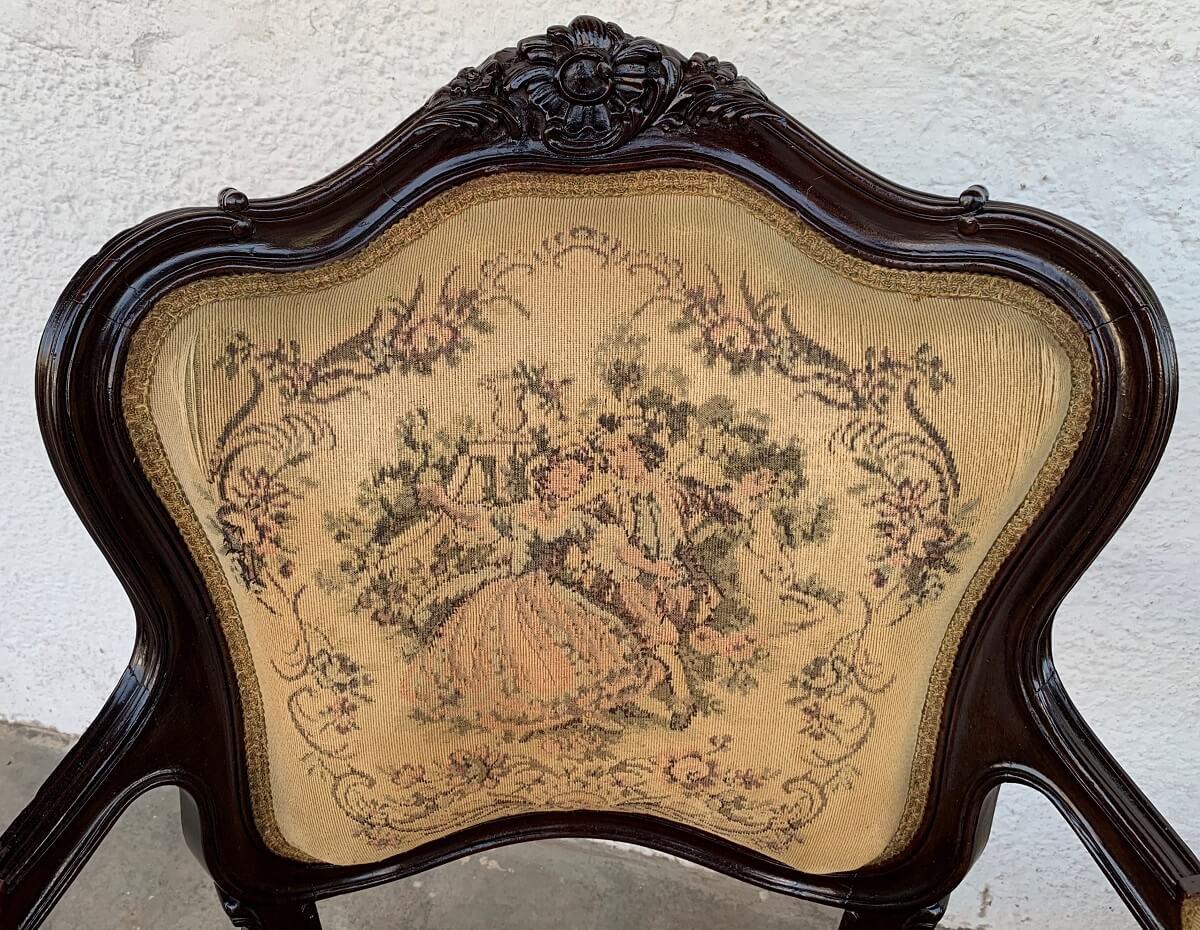 Antigo Conjunto Sofa E Poltronas Luis Xv Tecido Gobelin Original