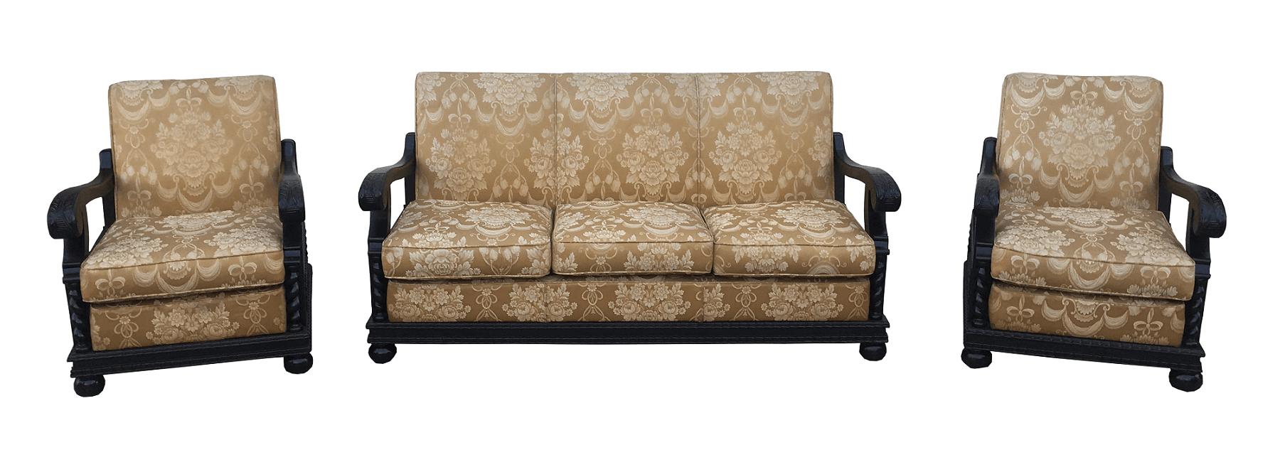Antigo Conjunto Sofa E Poltronas Manoelino Colonial Tecido Nobre