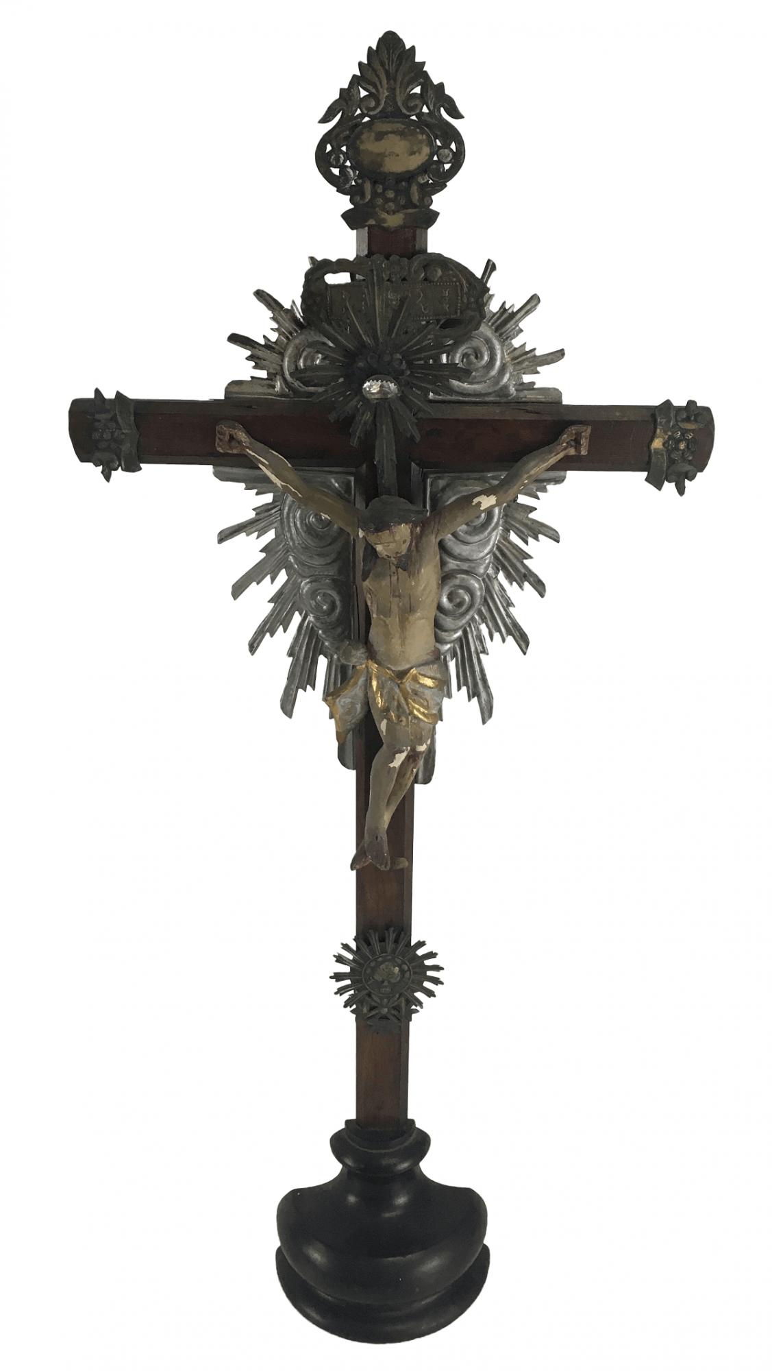 Antigo Cristo Crucificado Em Jacaranda E Metal Crucifixo 69cm