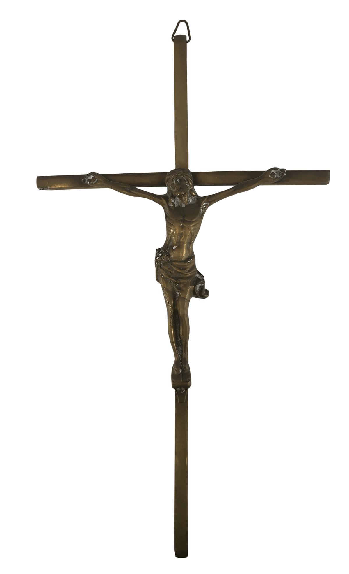 Antigo Crucifixo De Parede Em Bronze