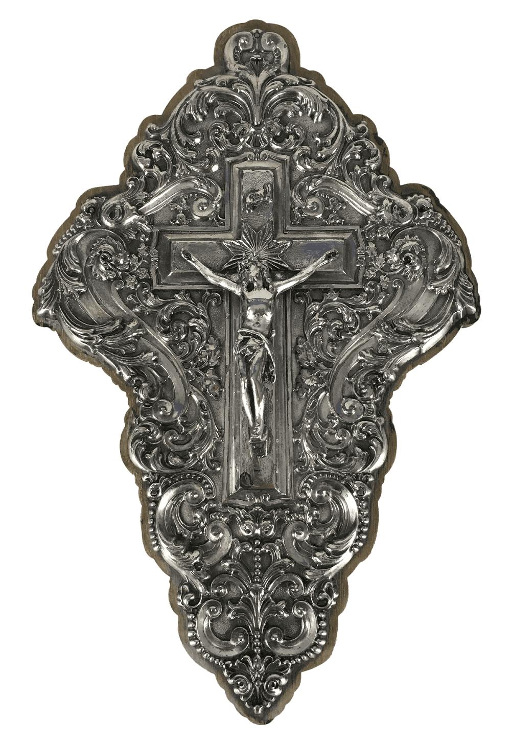 Antigo Crucifixo De Parede Espessurado A Prata Belissimo