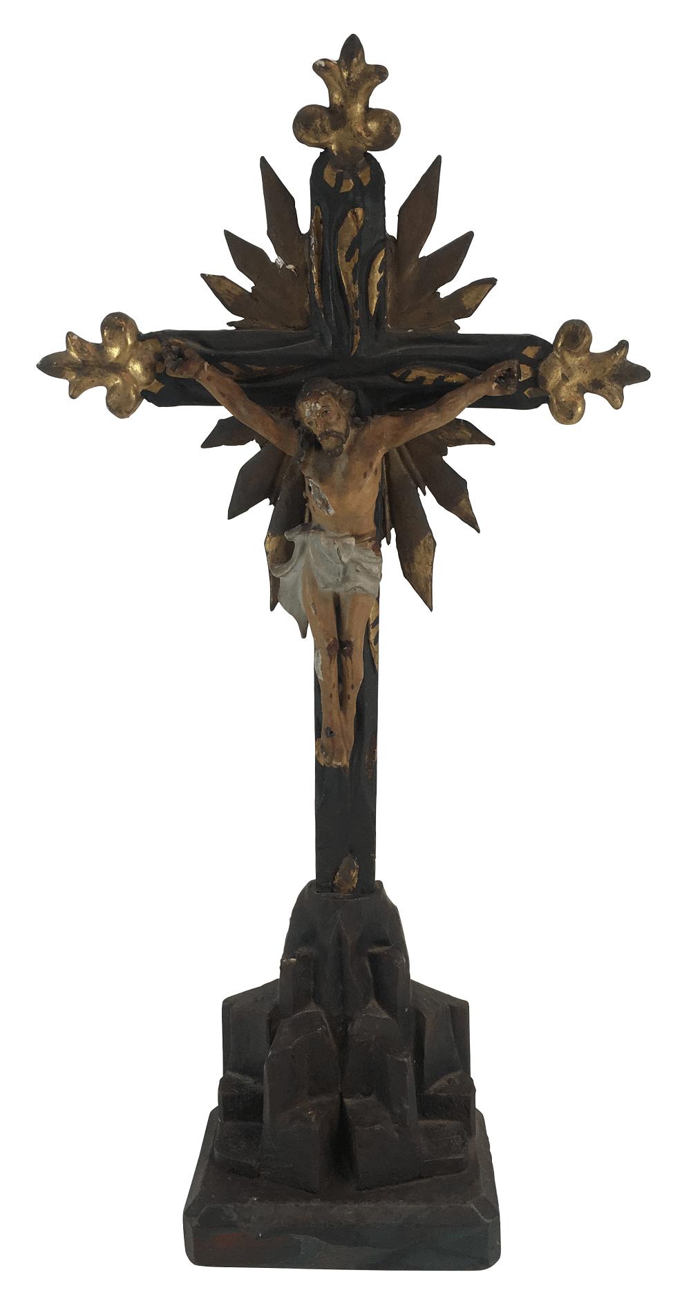 Antigo Crucifixo De Pousar Em Madeira 52cm
