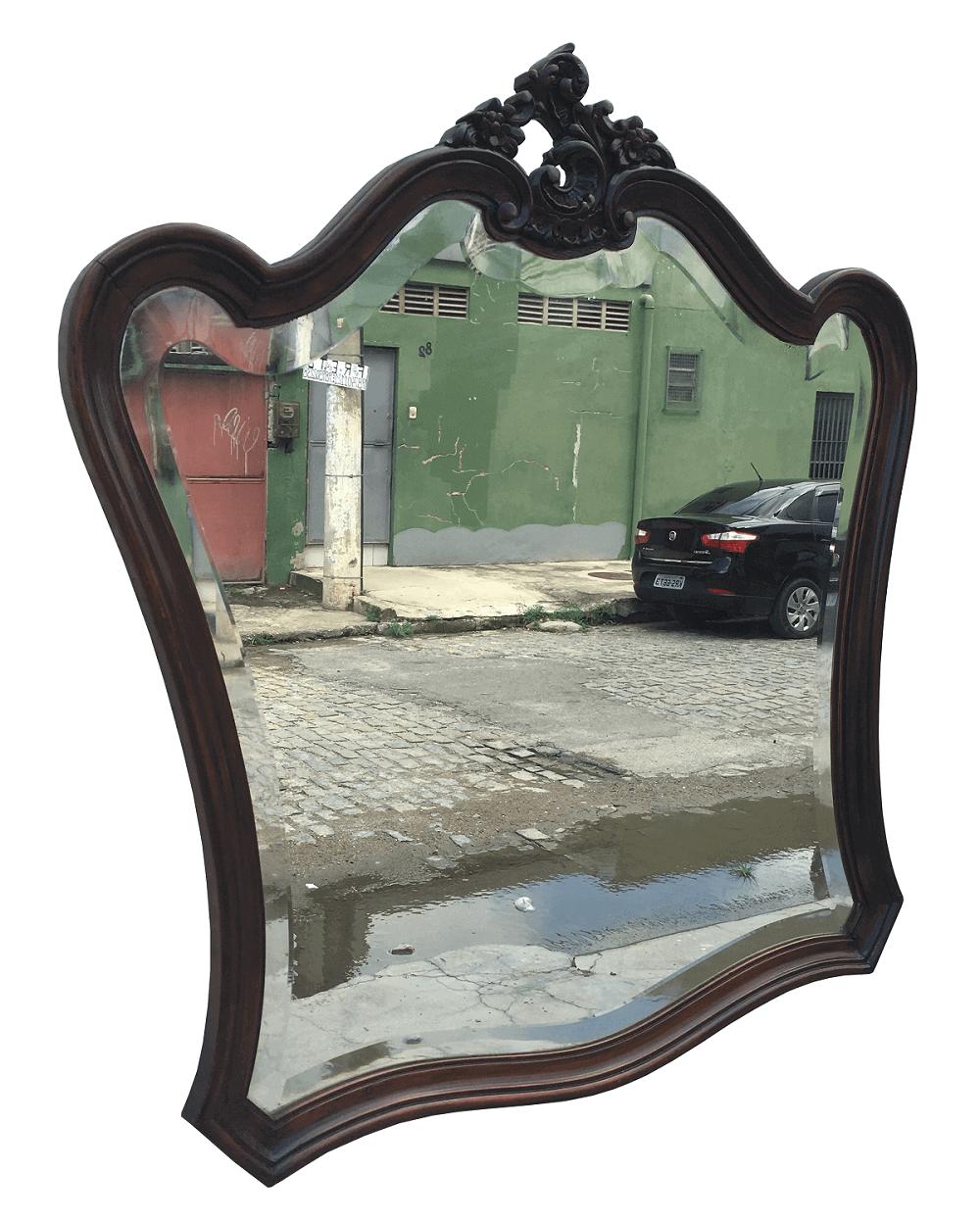 Antigo Espelho Bisotado Luis Xv Em Jacaranda