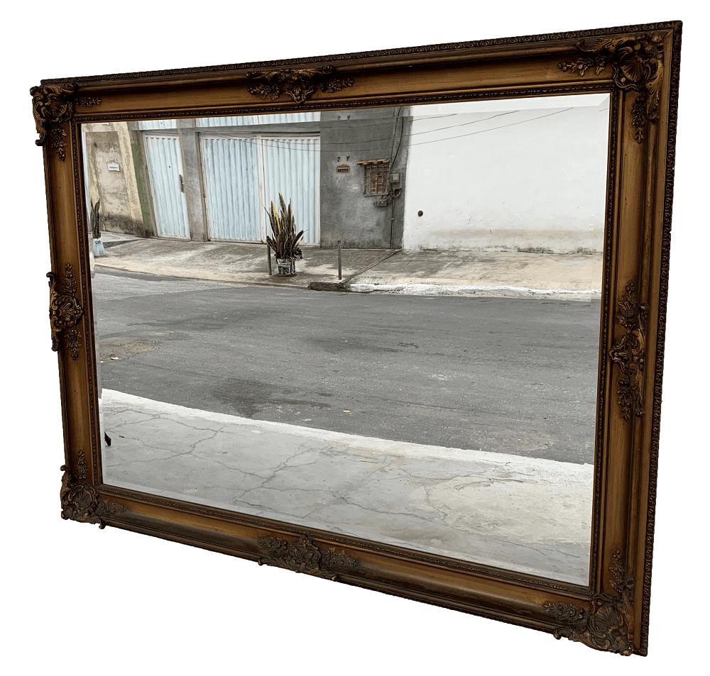 Antigo Espelho Bisotado Retangular Grande Folheado A Ouro