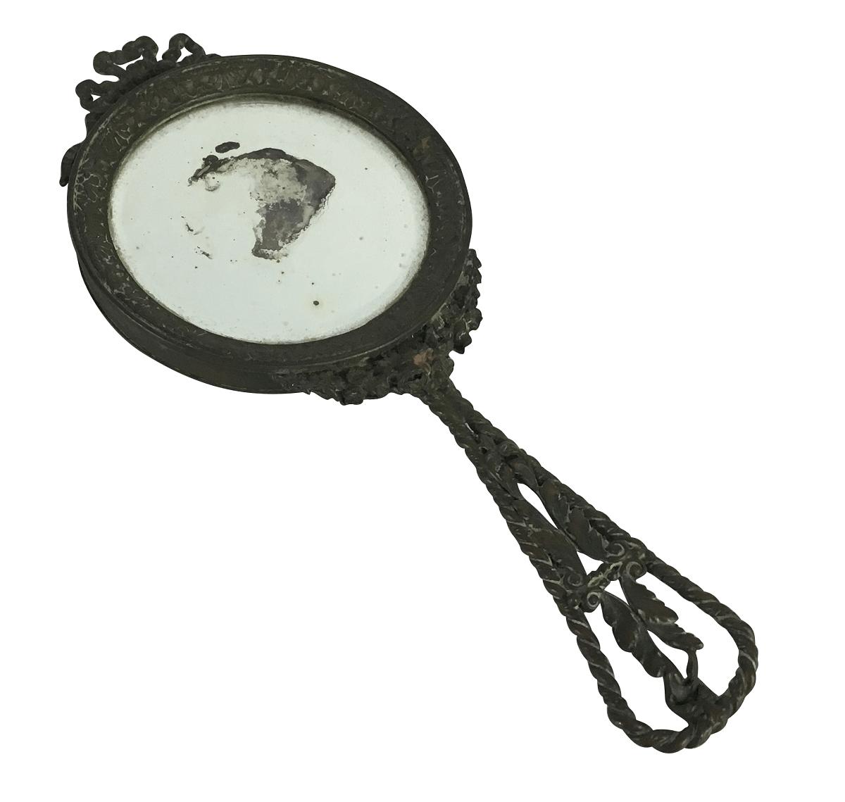 Antigo Espelho De Mao Camafeu Em Bronze