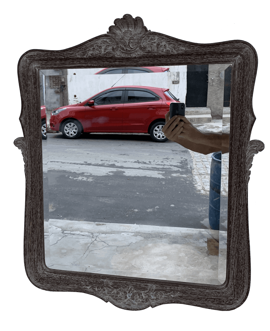 Antigo Espelho Luis Xv Bisotado Patina Provençal