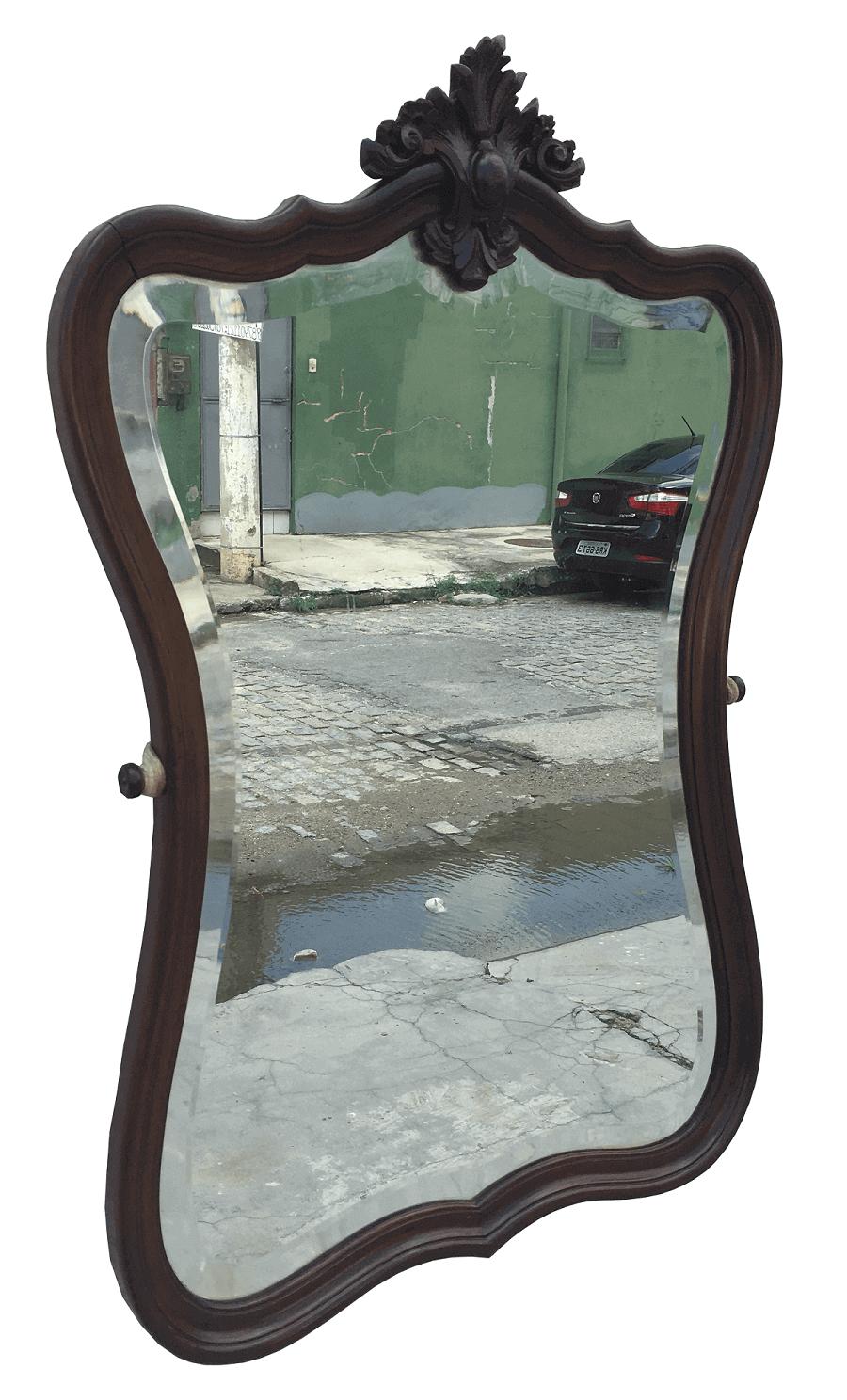 Antigo Espelho Luis Xv Jacaranda Bisotado
