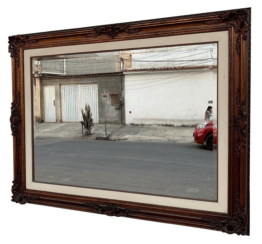 Antigo Espelho Retangular Moldura Belissima Em Madeira