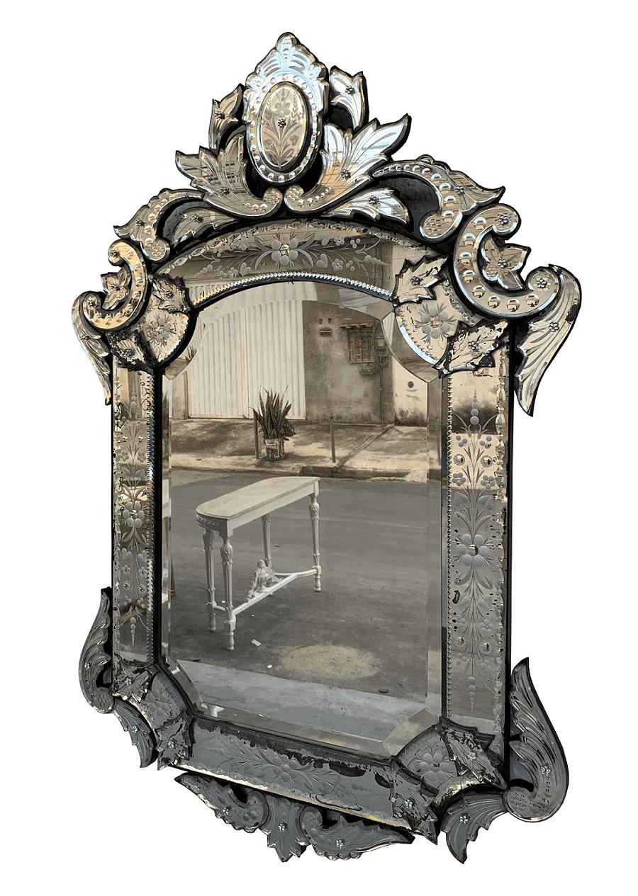 Antigo Espelho Veneziano Autentico Linda Lapidação