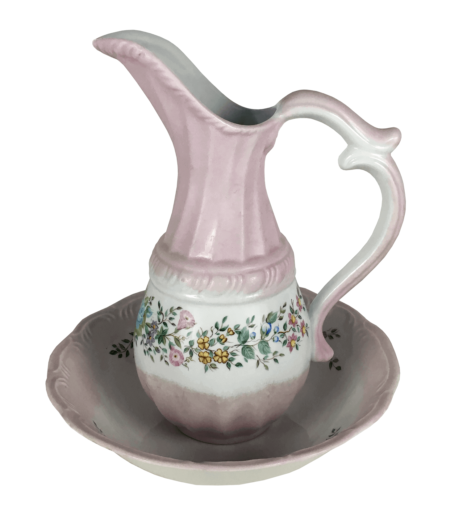 Antigo Gomil Porcelana Schmidt Jarro E Bacia Rosa