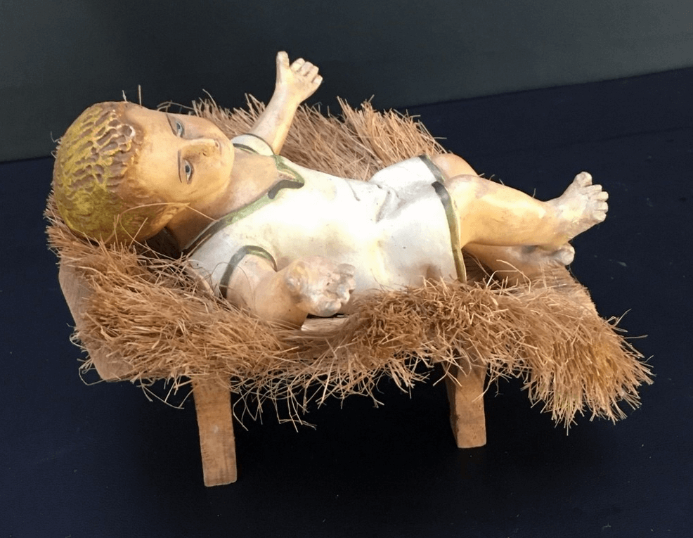 Antigo Menino Jesus Na Manjedoura Em Gesso