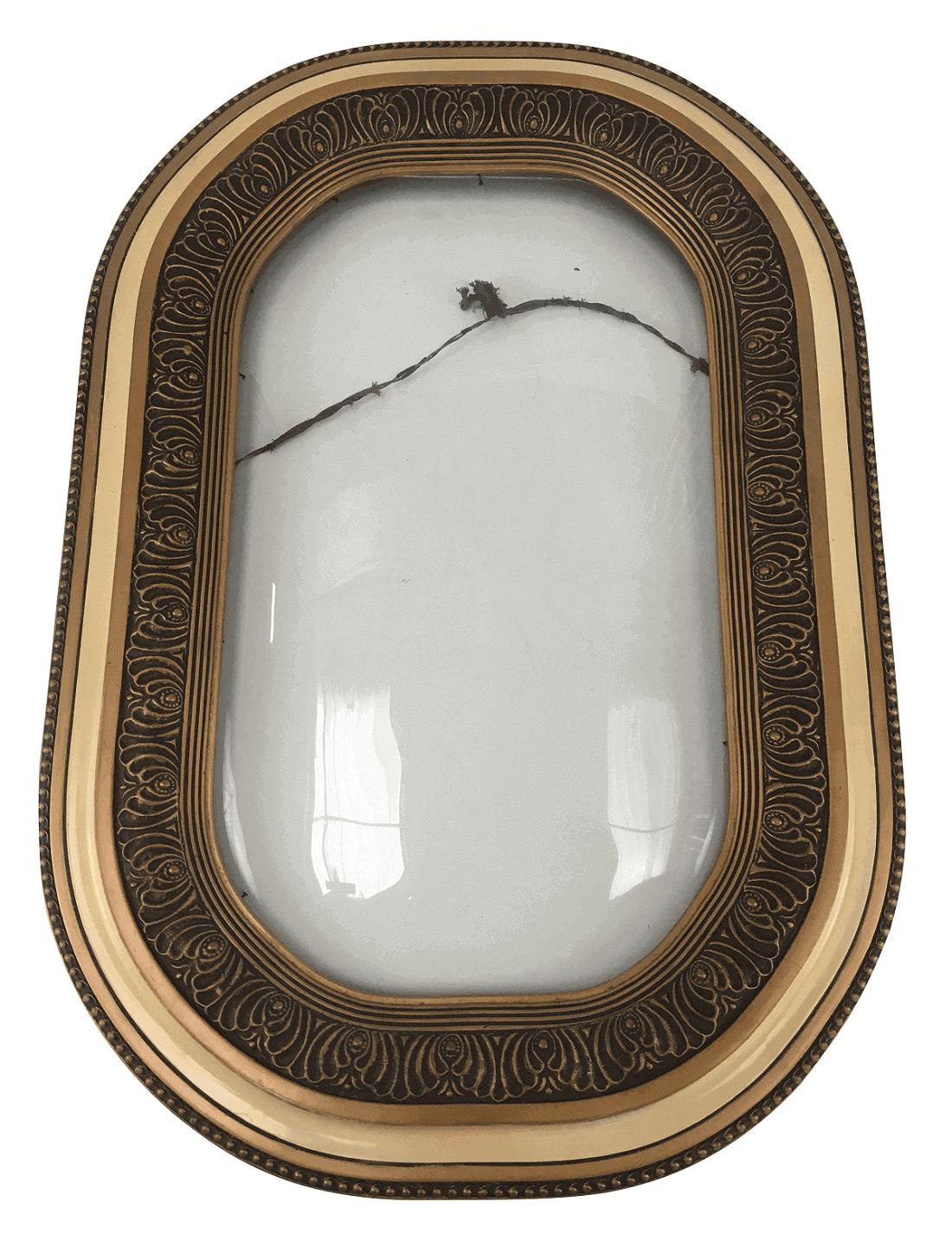 Antigo Moldura Oval Vidro Bombe 68cm