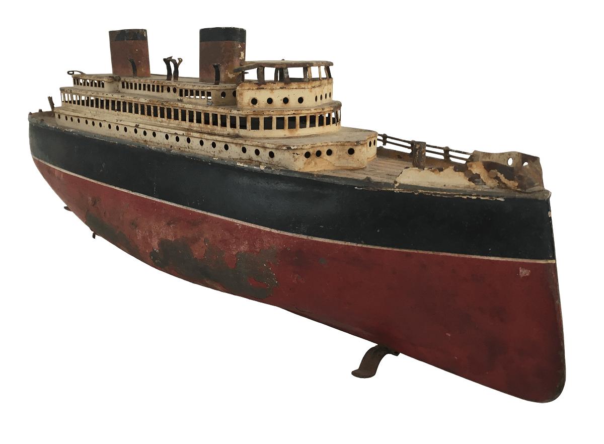 Antigo Navio Cargueiro Miniatura De Metal 42cm