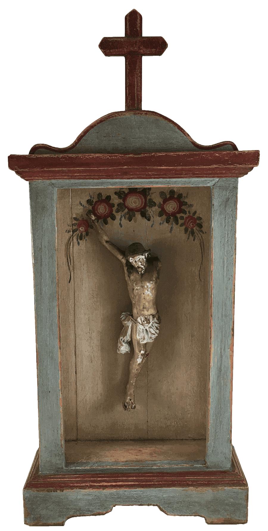 Antigo Oratorio Com Cristo Em Madeira
