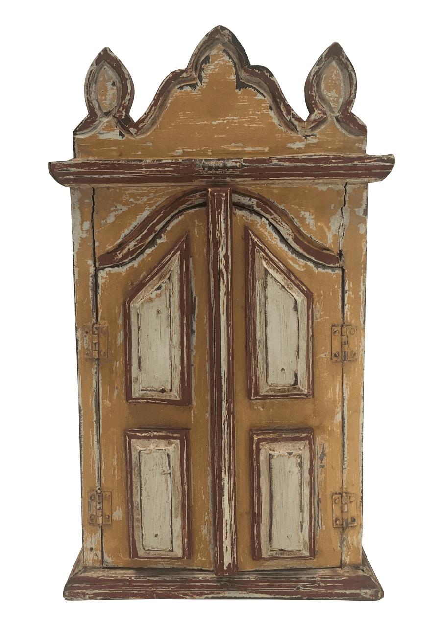Antigo Oratorio Patina Com Portas Em Madeira Maciça