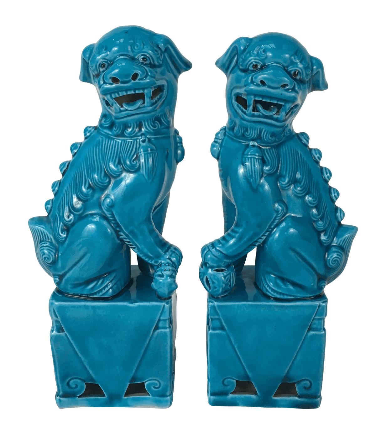 Antigo Par Cao De Fo Pocelana Chinesa