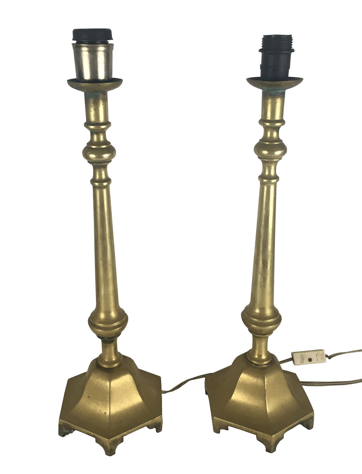 Antigo Par De Abajur Em Bronze Belissimo