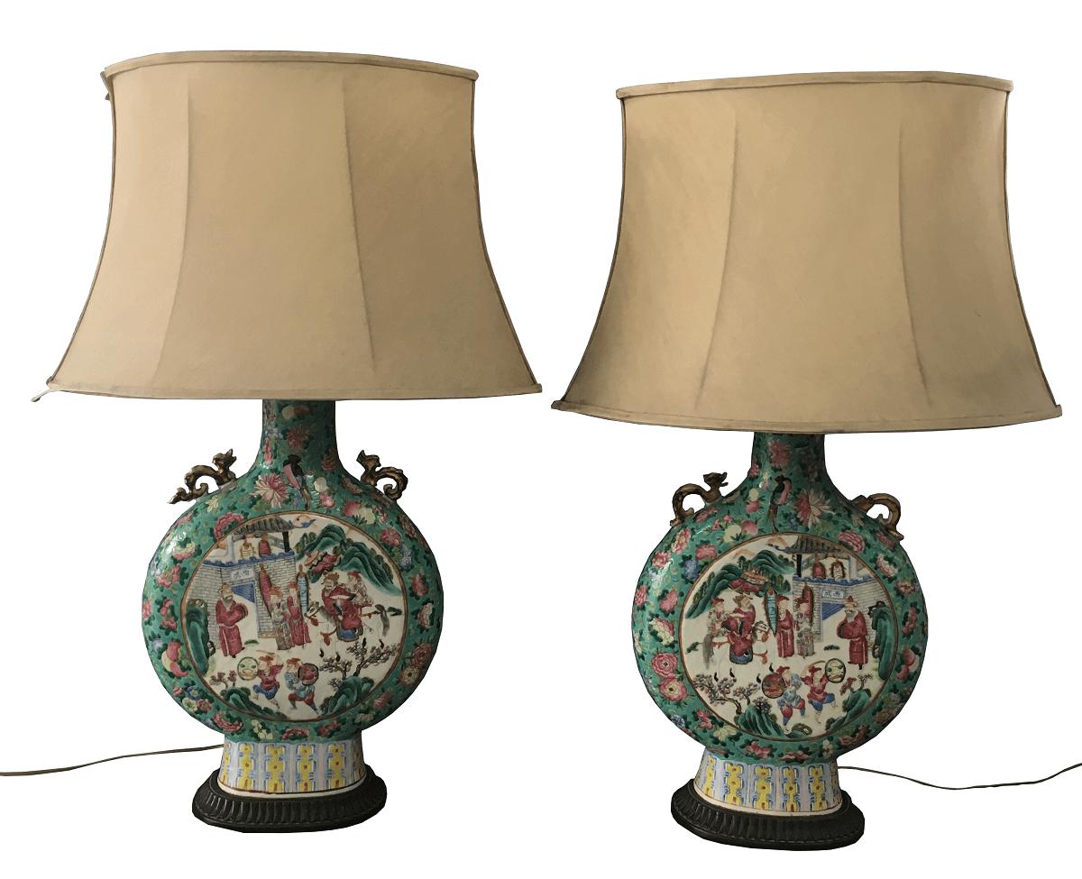 Antigo Par De Abajur Luminaria Porcelana Oriental Chinesa