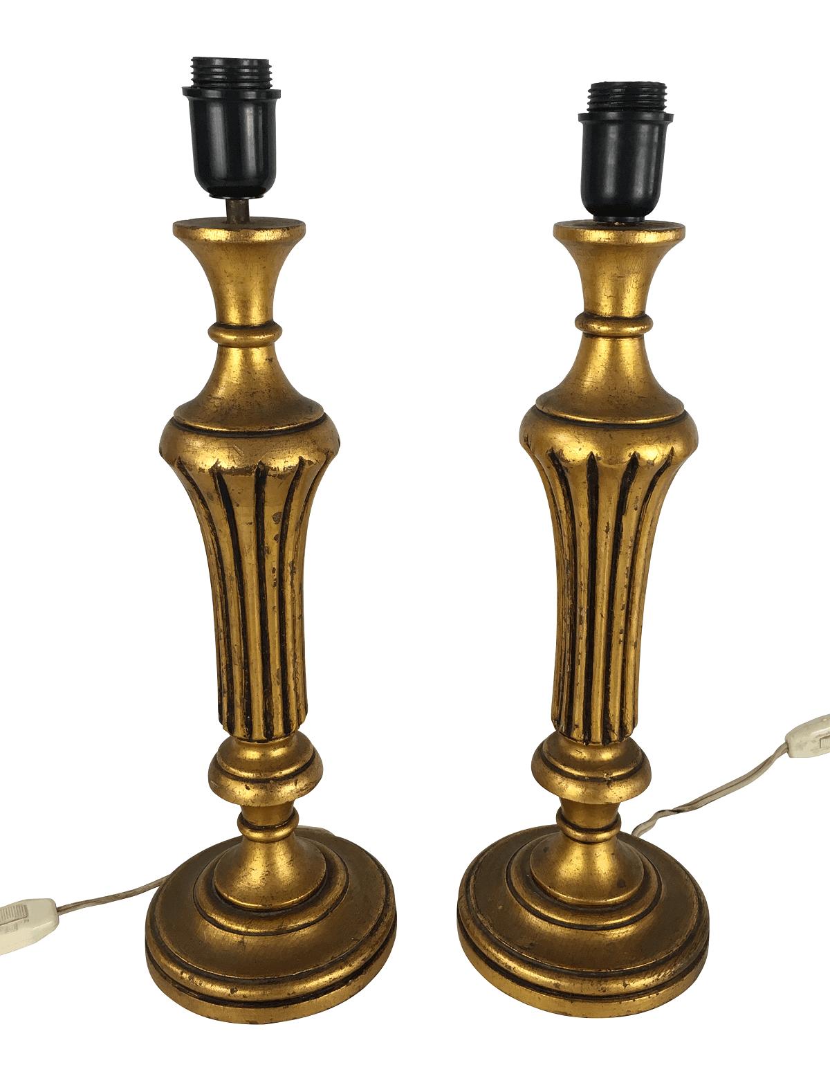 Antigo Par De Abajur Madeira Dourado Ouro