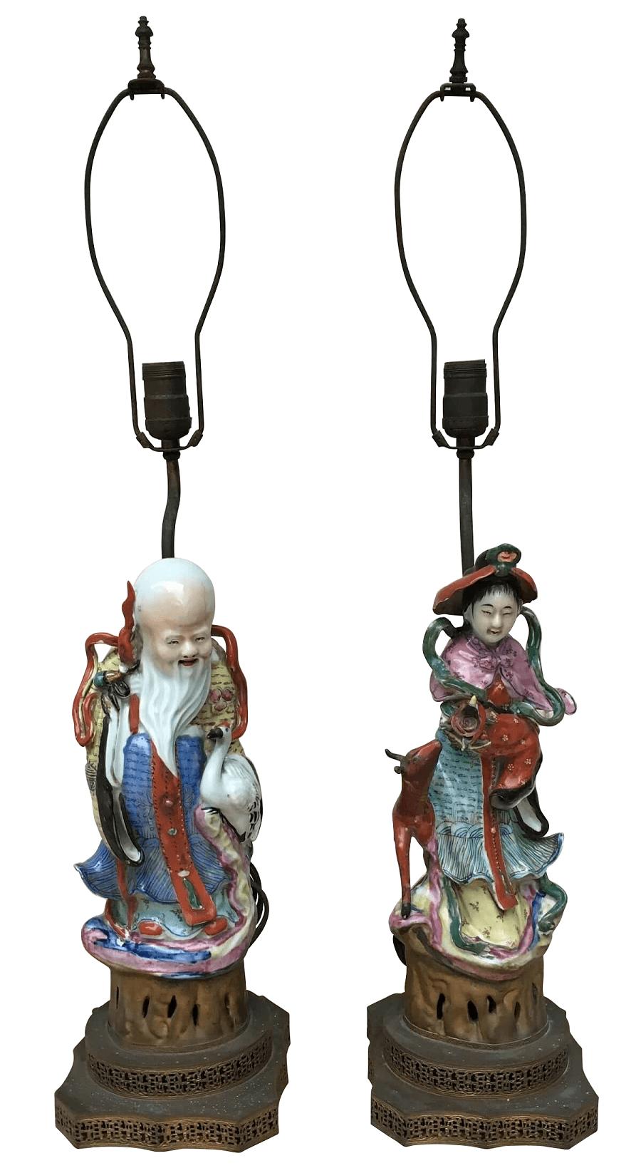 Antigo Par De Abajur Porcelana Chinesa