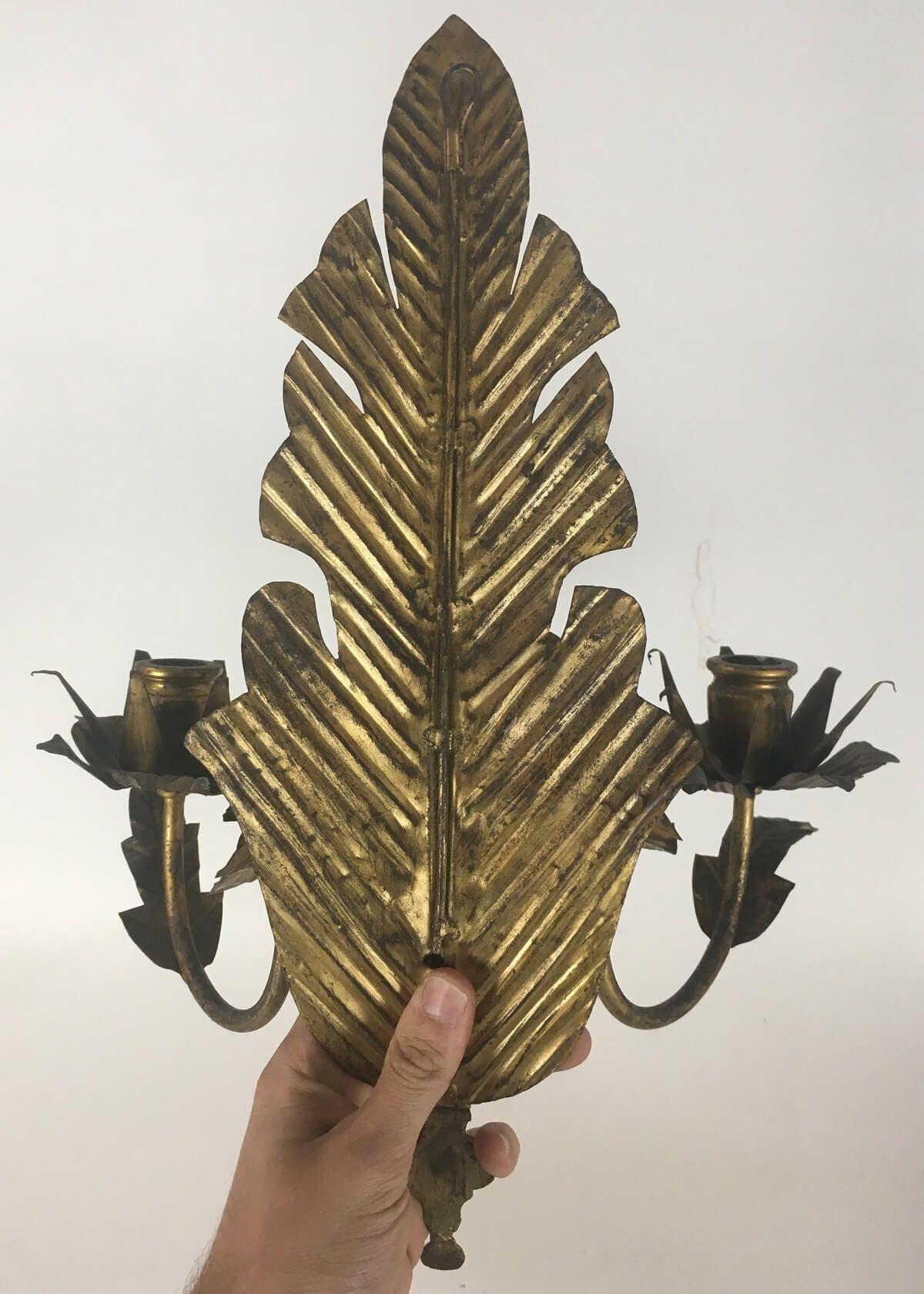 Antigo Par De Arandela Metal Folhas
