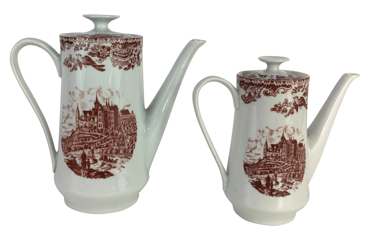 Antigo Par De Bules Porcelana Real Estilo Ingles Fazendinha
