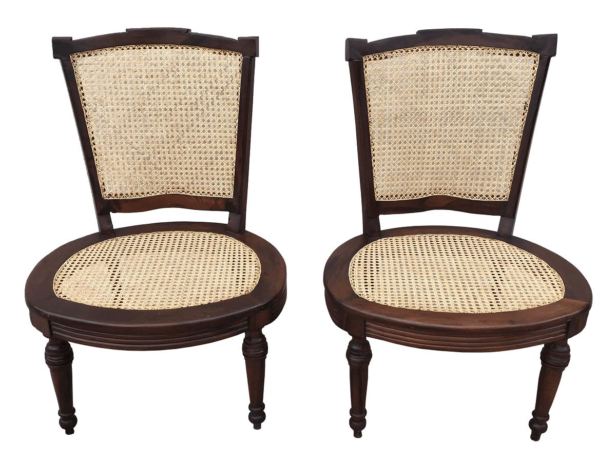 Antigo Par De Cadeira Baixa Em Palhinha Indiana