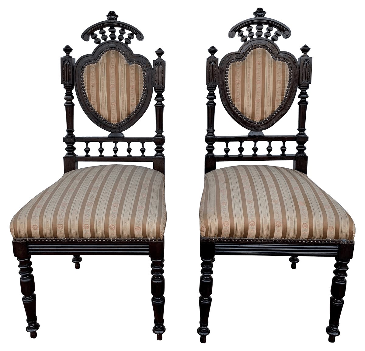 Antigo Par De Cadeira Colonial Lindos Entalhes