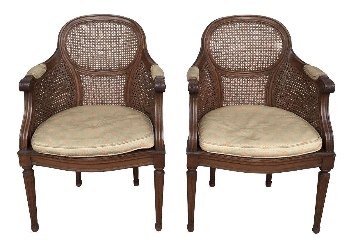 Antigo Par De Cadeira Luis Xvi Poltrona Palhinha Indiana